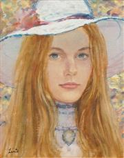 Sale 8683 - Lot 502 - Gerrard Lants (1927 - 1998) - Girl in Hat 34 x 27cm