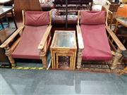 Sale 8745 - Lot 1016 - Pair of Timber Squatters Chairs