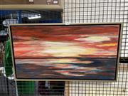 Sale 8932 - Lot 2088 - Joan Morway-  Sunset at Torquay acrylic on canvas, 40 x 70cm (frame)