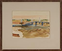 Sale 9147 - Lot 2087 - RICHARD FINNY (1909 - ) The Slipway, Bembridge watercolour 26 x 36 cm (frame: 50 x 60 x 2 cm) signed lower right, Kensington Art Gal...
