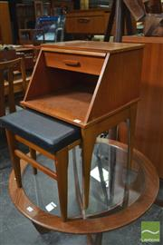 Sale 8338 - Lot 1079 - Teak Telephone Table with Slide Out Stool