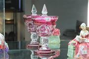 Sale 8348 - Lot 3 - Czech Etched Ruby Glass Bon Bon Dish (Chip To Rim)