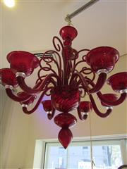 Sale 8402B - Lot 68 - Murano Barnaba Contemporary 8-Branch Chandelier in Red