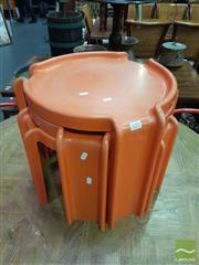Sale 8554 - Lot 1057 - Nest of 3 Orange Kartell Tables