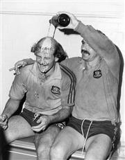 Sale 8754A - Lot 5 - Stan Pilecki and Tony Shaw Celebrate Win Over New Zealand, Sydney Cricket Ground 1980 - 25 x 20cm
