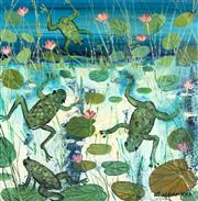 Sale 9042A - Lot 5001 - Colleen Parker (1944 - 2008) - Leap Frogs, Kakadu 29.5 x 29.5 cm (frame: 39 x 39 x 2 cm)