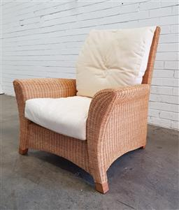 Sale 9108 - Lot 1058 - Oversized wicker armchair with cushions (h:93 x w:91 x d:77cm)
