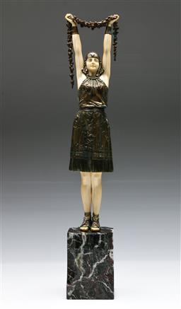 Sale 9138 - Lot 100 - Demetre Chiparus First Flowers Figural Study, France c.1925 (H:50cm)