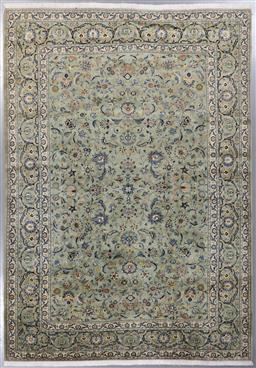 Sale 9199J - Lot 82 - A finely knotted vintage Herati Kashan rug, in pistachio green with navy highlights, 370cm x 275cm