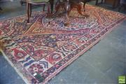 Sale 8390 - Lot 1092 - Antique Persian Rug in Red Blue and Cream Tones (275 x 166cm)