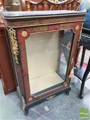 Sale 8416 - Lot 1043 - Antique Boulle Style Ebonised Display Cabinet, with brass inlays on red faux tortoise panels & mounts of trophies & flowers, with si...