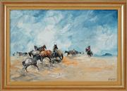 Sale 8449A - Lot 527 - Hugh Sawrey (1919 - 1999) - Station Horses, Diamantina Lake West, QLD 26.5 x 40cm