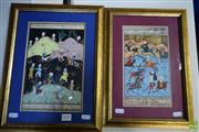 Sale 8578T - Lot 2031 - (2 works) Indo-Persian Miniatures: Hunting Scenes gouache, 35 x 25cm; 38 x 29cm (frame sizes)
