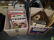 Sale 8582 - Lot 2288 - Box of Various Books, Box Golf Balls, 2 Gilt Framed Mirrors & Prints