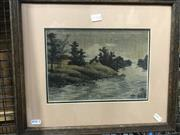 Sale 8754 - Lot 2072A - An antique needlepoint of a Countryscape with River, 36 x 42cm (frame)