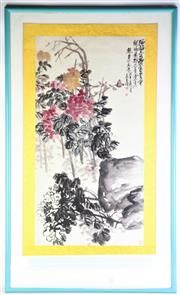 Sale 8869C - Lot 652 - A Framed Chinese Scroll Depicting Flowering Tree (70cm x 115cm)