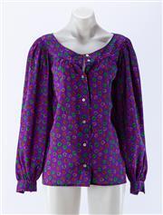 Sale 8910F - Lot 56 - A vintage Saint Laurent, Paris rive gauche printed peasants blouse in a wool/cotton blend, size 36