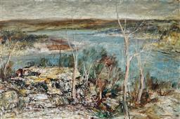 Sale 9133 - Lot 532 - George Feather Lawrence (1901 - 1981) Hawkesbury Landscape, 1972 oil on board 59.5 x 90 cm (frame: 79 x 109 x 6 cm) signed and dated...
