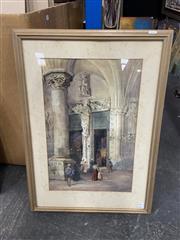 Sale 9004 - Lot 2092 - Evelyn Jane Rimington (nee Whyley) Sunday Mass, c1900 - 1910s watercolour 52 x 33.5cm (frame: 72 x 52cm), signed lower right