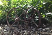 Sale 9015G - Lot 100 - Mixed lot of 2 Wrought Iron/metal Wheels  .General Wear,Size 40cmL/37cm D