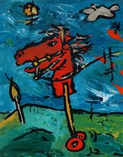 Sale 9067 - Lot 578 - David Bromley (1960 - ) - Toy Horse In The Field 34 x 26.5 cm (39 x 31 x 7 cm)