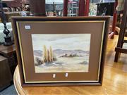 Sale 9082 - Lot 2096 - P. Baislow, Country Scene with Farm House, Watercolour, SLR, 23.5x32cm, 41x49.5cm