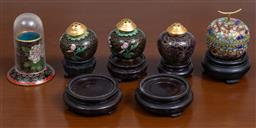 Sale 9140H - Lot 71 - A group of four of cloisonne pieces including three salts and an apple form opium container and another