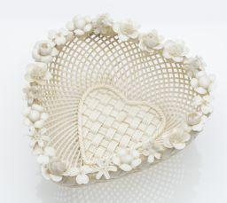 Sale 9150J - Lot 33 - A first period Belleek 4 strand basket weave heart shaped dish C: 1868 - 1890.Impressed first mark, Belleek Fermanagh Ireland. Decor...