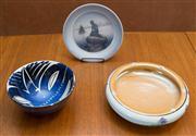 Sale 8313A - Lot 8 - A Royal Copenhagen, lapis blue geometric design bowl, diameter 19cm (chipped to rim) together with a Royal Copenhagen mermaid bowl,...