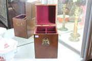 Sale 8360 - Lot 43 - Leather 4 Compartment Whisky Box