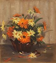 Sale 8613 - Lot 2010 - June Jones - A Pot of Mixed Daisies, 1983 44.5 x 39.5cm