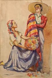Sale 8642A - Lot 5065 - Constance Tempe Manning (1896 - 1960) - Lovers & Flowers 57 x 37cm