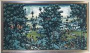 Sale 9028 - Lot 2075 - W Rana, Country Landscape - Ubud, acrylic on canvas on board, 88 x 149cm (frame), signed lower left