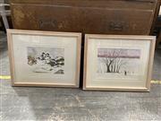 Sale 9058 - Lot 2071 - Terry Stauken, (2 Works) Winter Landscapes, Watercolours, each 43x53 S&D