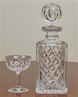 Sale 9098H - Lot 41 - A cut crystal decanter together with a single sherry glass, Height of decanter 26cm