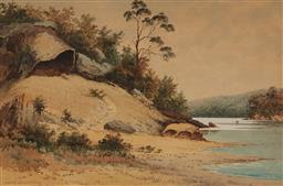Sale 9141 - Lot 580 - Gladstone Eyre (1862 - 1933) Grannys Bonnet, Georges River at Como watercolour 44.5 x 68.5 cm (frame: 73 x 97 x 3 cm) signed lower...