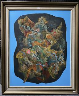Sale 9139 - Lot 2024A - Valda Morris Nudes in Psychedelic Landscape oil on board, 103 x 86cm (frame) signed