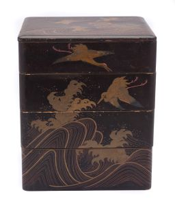 Sale 9150J - Lot 34 - An antique polychrome lacquer 4 section box with swooping cranes above cresting waves, Ht: 20cm x w: 16cm x d: 15cm