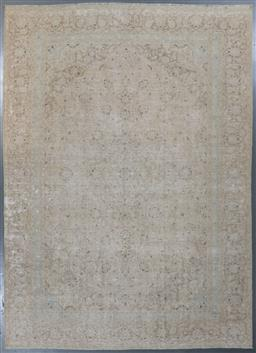Sale 9199J - Lot 83 - An attractive erased finely knotted vintage Persian Tabriz rug, subtle natural colours with sky blue tones, 394cm x 272cm
