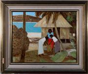 Sale 8313A - Lot 9 - Ray Crooke - Islander study with hut and lagoon 30 x 38cm
