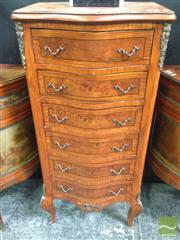Sale 8412 - Lot 1007 - French Style Slim Chest of Six Drawers with Brass Mounts