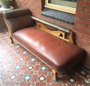 Sale 8418A - Lot 7 - A carved oak chaise with studded upholstery, L 188cm, together with cushions