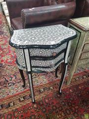 Sale 8648C - Lot 1026 - Mother of Pearl Inlaid Side Table with Two Drawers