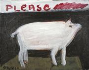 Sale 8708A - Lot 502 - Madonna Staunton (1938 - ) - Please...(Pig) 20.5 x 25.5cm