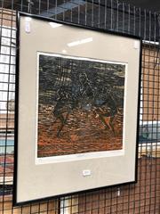 Sale 8797 - Lot 2057 - M. Marjaroi - Ritual 1991 colour linocut ed 3/4, 52 x 42cm, signed lower -