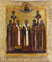 Sale 8935 - Lot 47 - A Framed Russian Religous Icon of Five Saints Hallmarked to Top and Bottom (32cm x 27cm)
