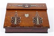 Sale 9015 - Lot 89 - A Victorian Burr Walnut Writing Slope, with Mother of Pearl Inlay, Decorated with Ivory and Brass Inserts (H:12cm W:38cm D:30cm)