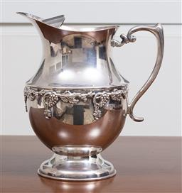 Sale 9140H - Lot 48 - A Crusader silver plated water jug with grapevine decorations, Height 21.5cm