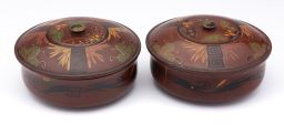 Sale 9150J - Lot 35 - A pair of vintage polychrome lacquer lidded bowls decorated with butterflies, d: 16cm