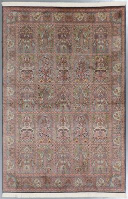 Sale 9199J - Lot 85 - A Kashmir garden of paradise finely knotted panel design pure silk rug, in soft tones, 252cm x 170cm